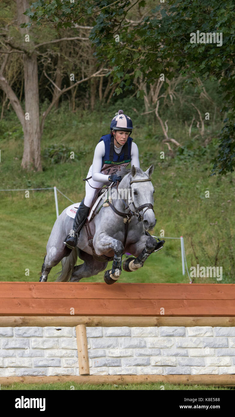 Caroline March on Post Master, SsangYong Blenheim Palace International Horse Trials 16th September 2017 - Stock Image