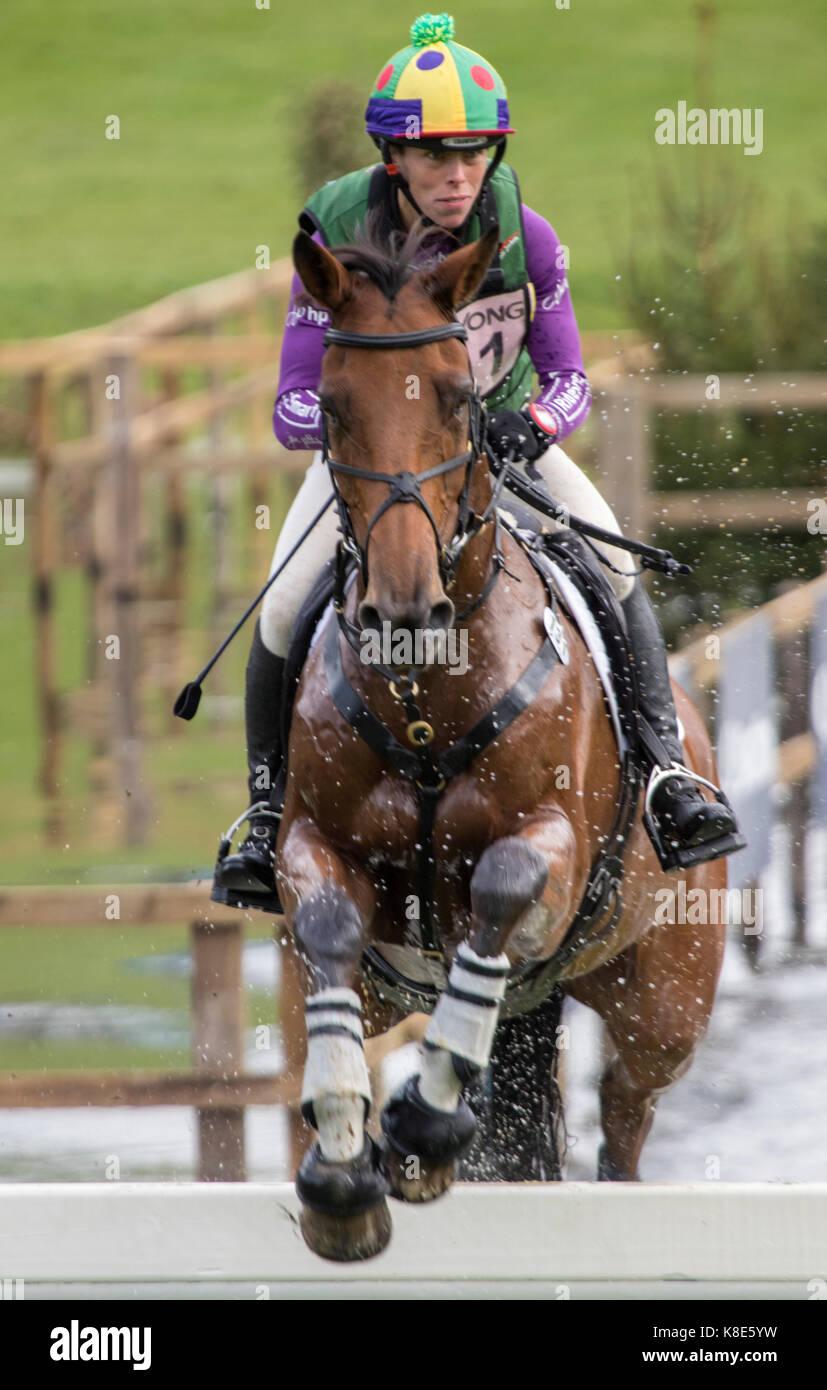 Emily Philp on CAMEMBERT, SsangYong Blenheim Palace International Horse Trials 16th September 2017 - Stock Image