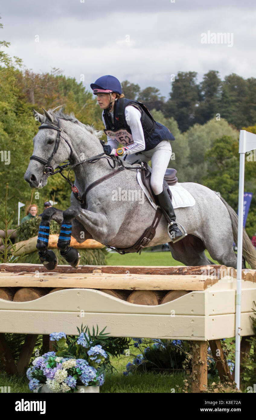Sarah Pickard on Polo Stricker,  Blenheim Palace International Horse Trials 16th September 2017 - Stock Image