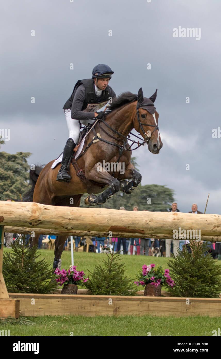Harry Dzenis on Star Striker, SsangYong Blenheim Palace International Horse Trials 16th September 2017 - Stock Image
