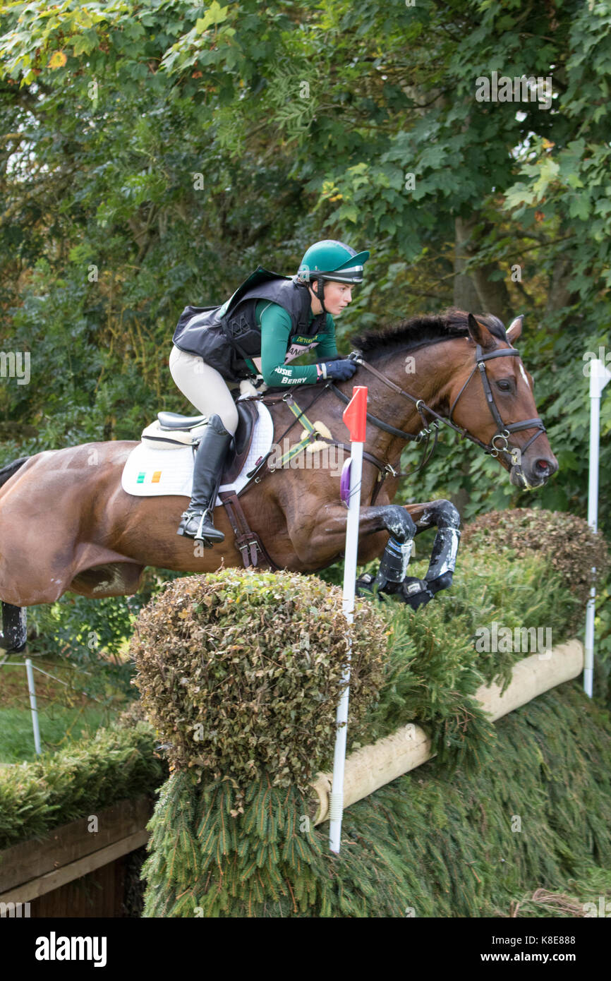 Susie Berry on CARSONSTOWN ATHENA,  Blenheim Palace International Horse Trials 16th September 2017 - Stock Image