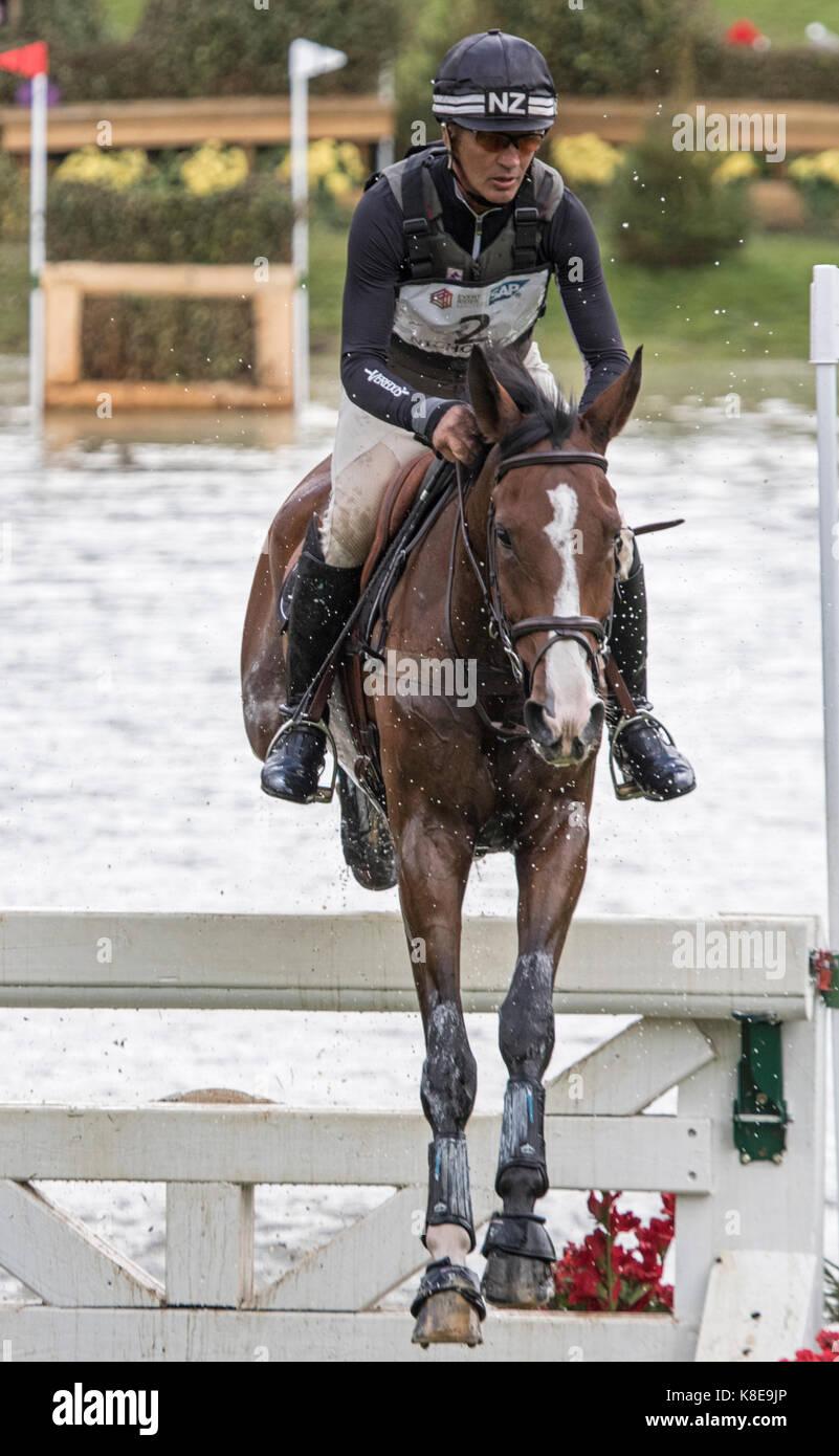 Andrew Nicholson on Jet set 1V, SsangYong Blenheim Palace International Horse Trials 16th September 2017 - Stock Image