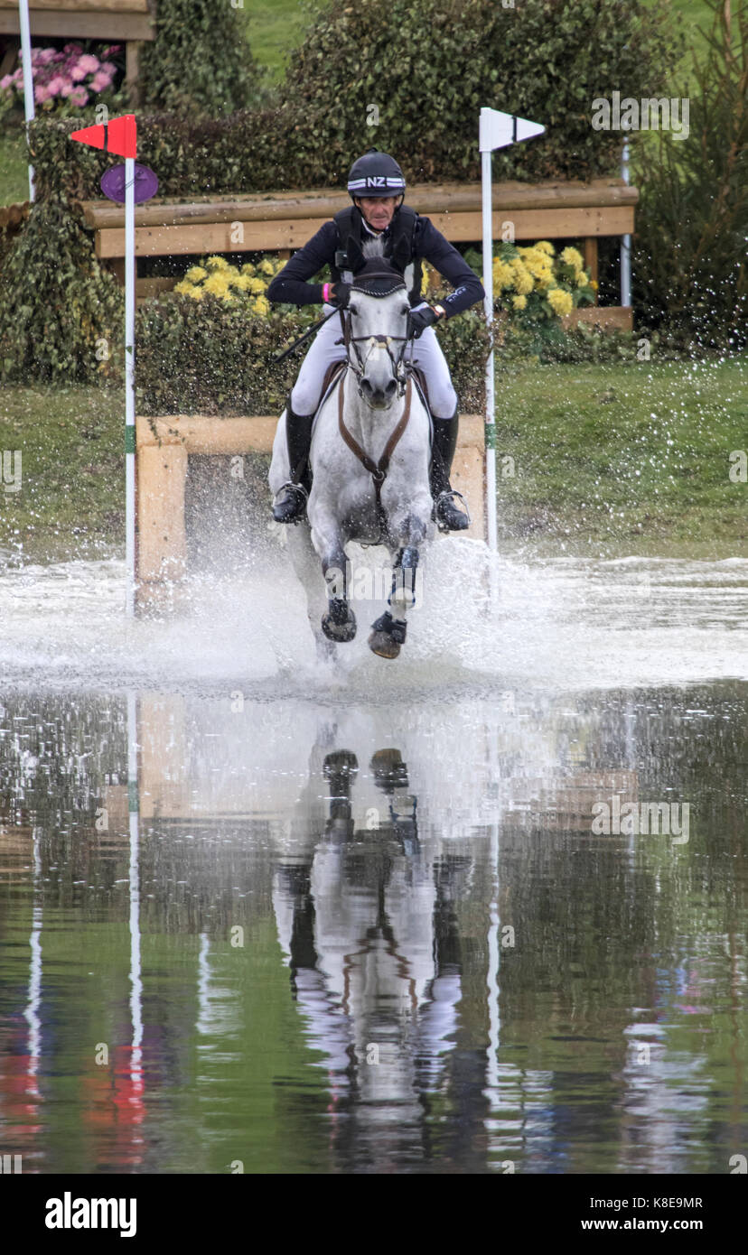 Mark Todd on Kiltubrid Rhapsody, SsangYong Blenheim Palace International Horse Trials 16th September 2017 - Stock Image