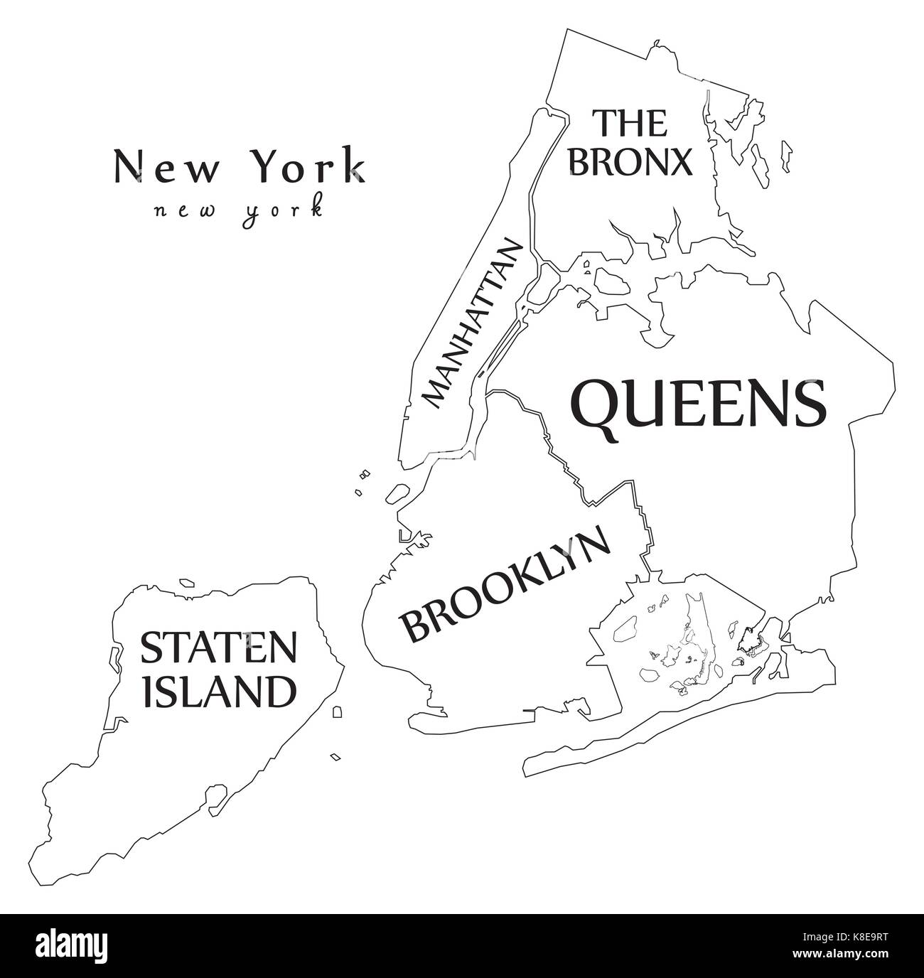 modern city map new york city of the usa with boroughs and titles outline map