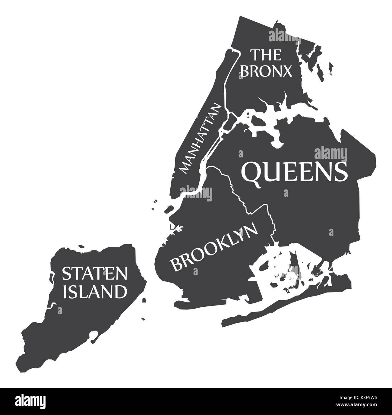 new york city map usa labelled black illustration