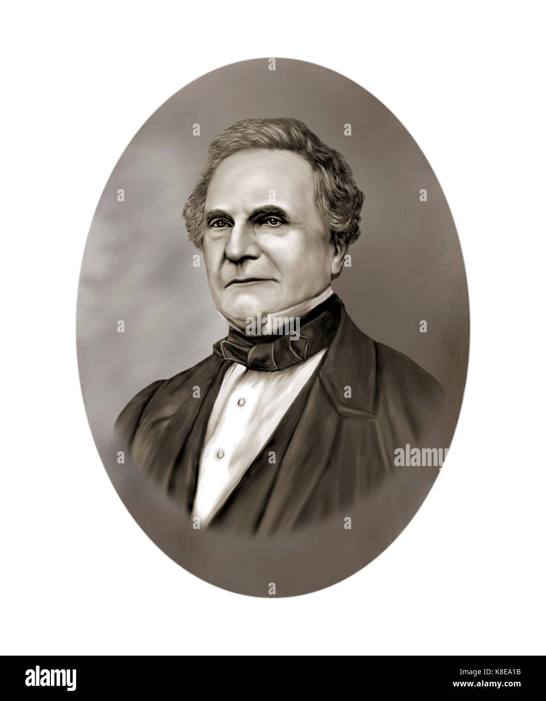 Charles Babbage, 1791 - 1871, Mathematician, Polymath, Philosopher, Inventor, Mechanical Engineer - Stock Image