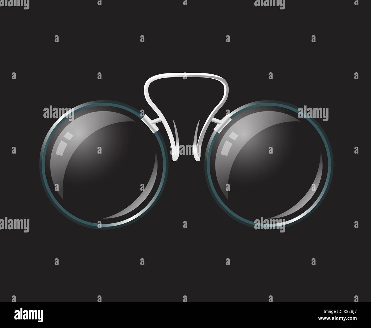 6298bfde89d02 Vintage eyeglasses pince-nez - modern vector realistic isolated object  illustration on black background. Use this high quality clip art for  presentati