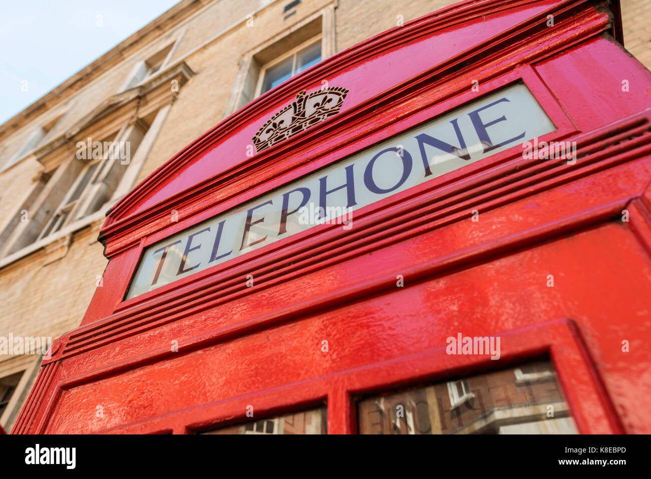 Typical red telephone box, telephone, London, England, Great Britain - Stock Image