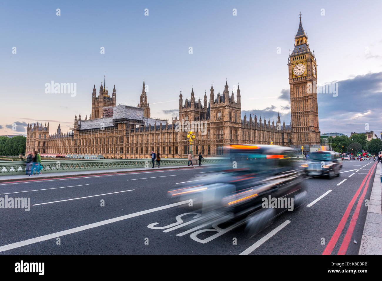 London Taxis on Westminster Bridge, Palace of Westminster, Houses of Parliament, Big Ben, City of Westminster, London, - Stock Image