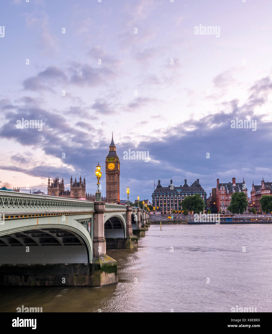 Westminster Bridge with Thames, Palace of Westminster, Houses of Parliament, Big Ben, Dusk, City of Westminster, Stock Photo