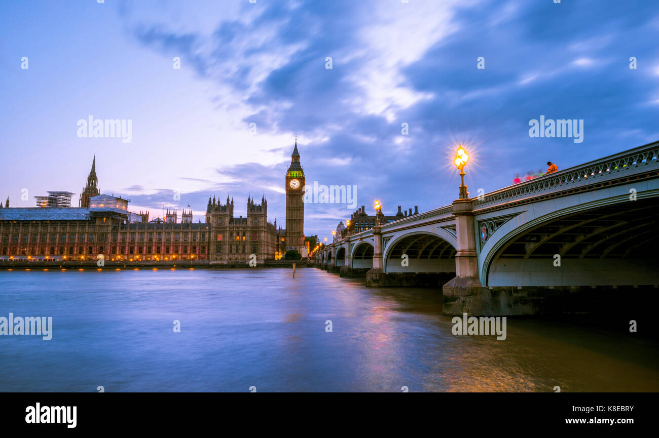 Westminster Bridge with Thames, Palace of Westminster, Houses of Parliament, Big Ben, Dusk, City of Westminster, - Stock Image