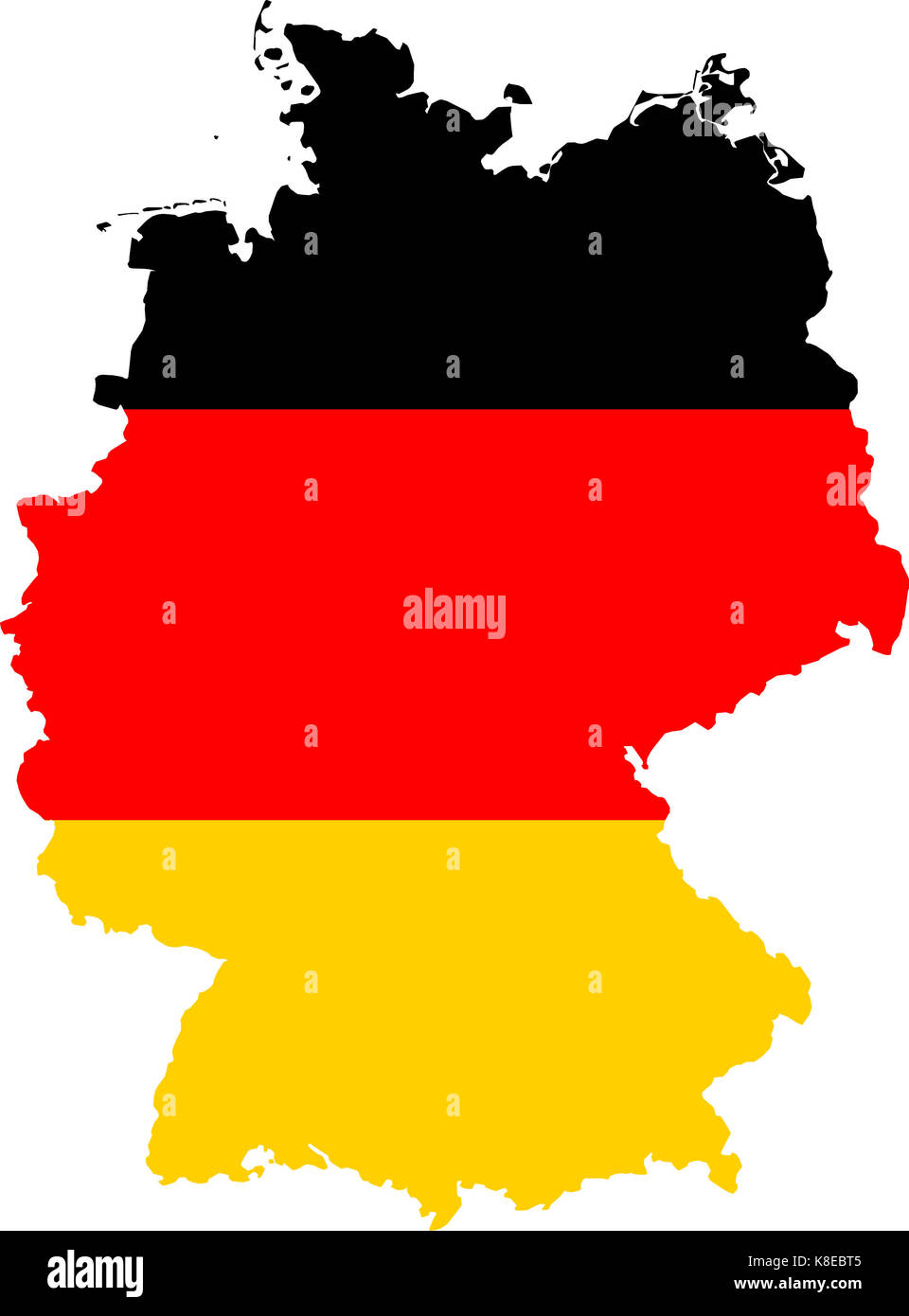 Map of Germany with the colours of the German flag - Stock Image