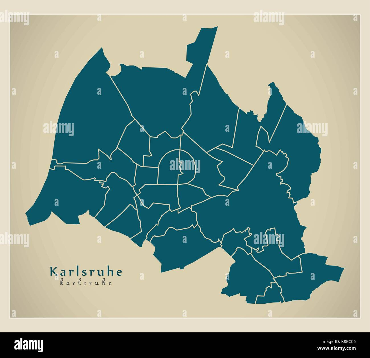 Modern City Map Karlsruhe city of Germany with boroughs DE Stock