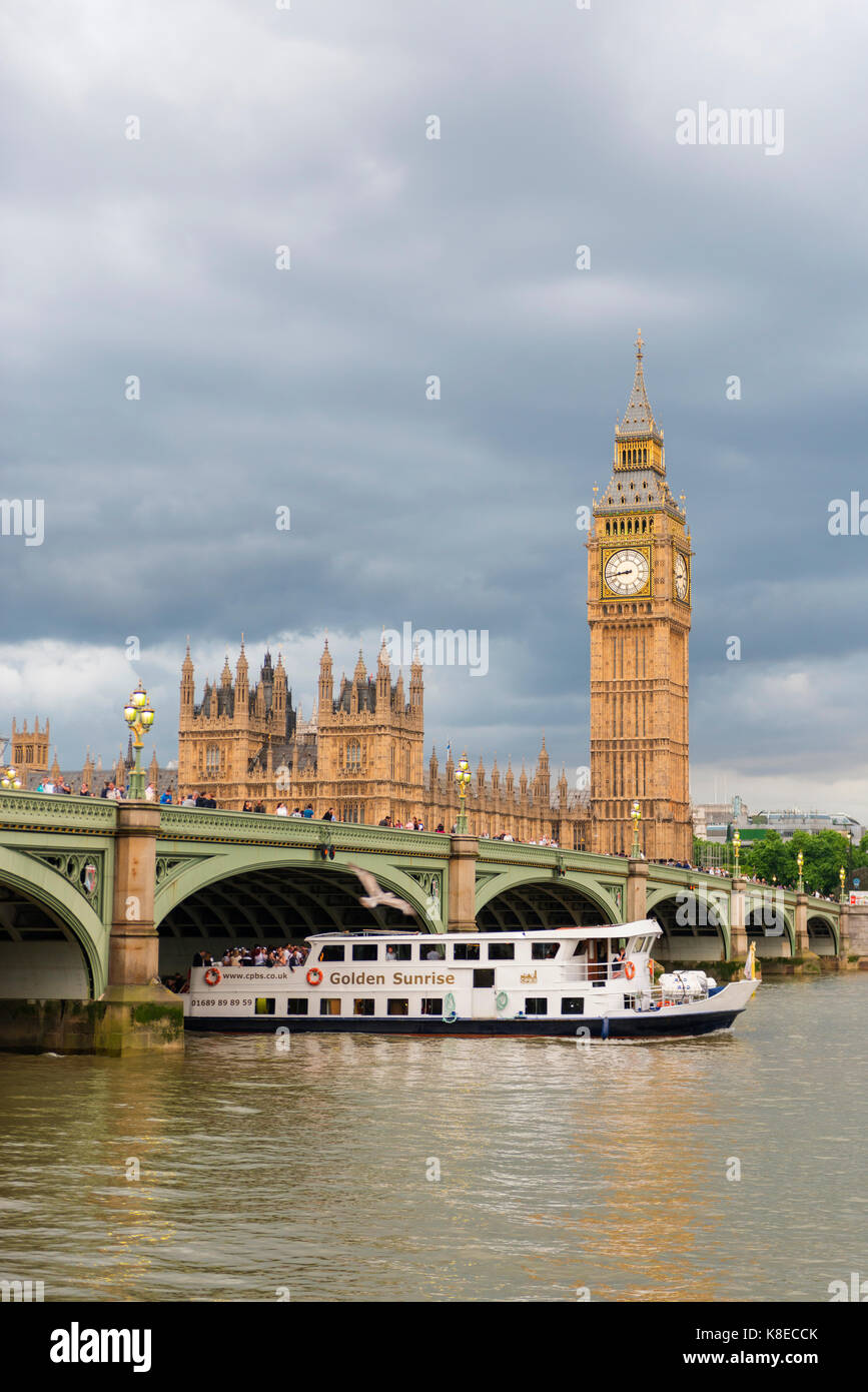 View over the river Thames, Westminster Bridge, London, England, Great Britain, Houses of Parliament, Big Ben Stock Photo