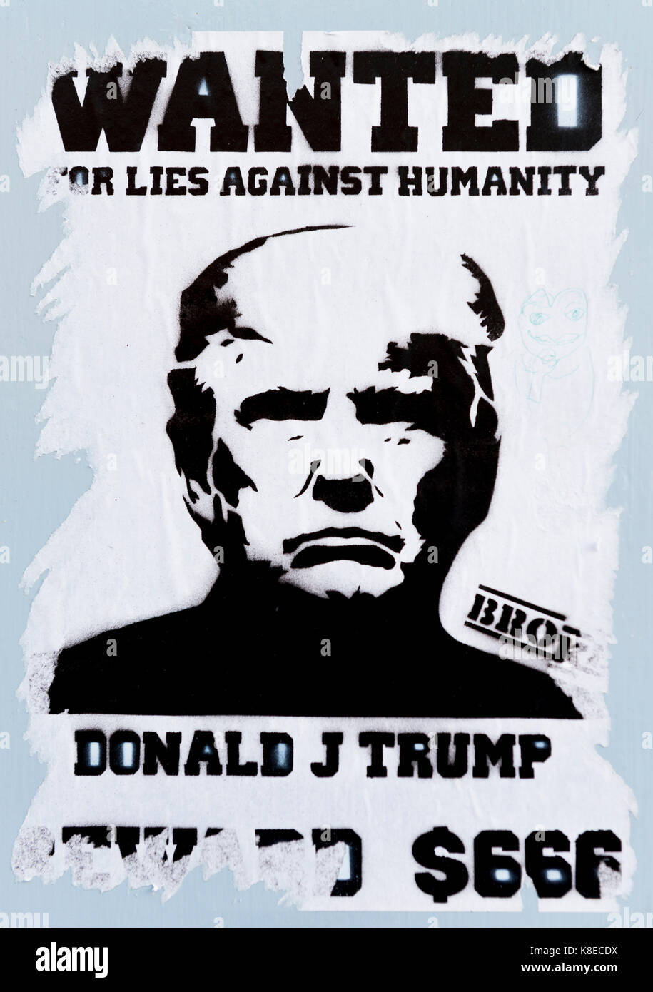 Poster with President of the USA, Donald Trump, inscription Wanted for lies against humanity, Brighton, England, - Stock Image