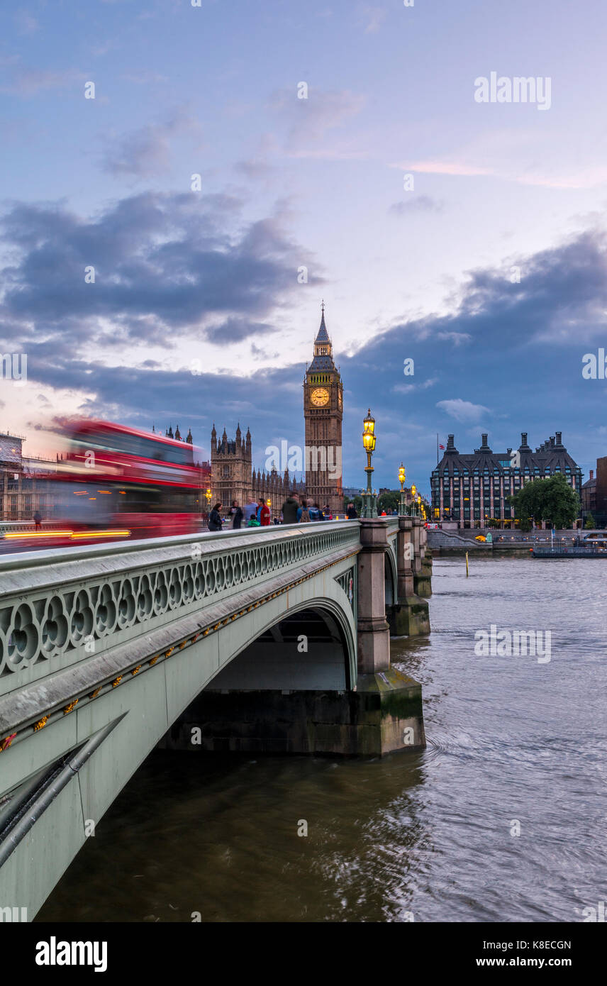 Double decker bus on Westminster Bridge, Westminster Palace, Houses of Parliament, Big Ben, City of Westminster, - Stock Image