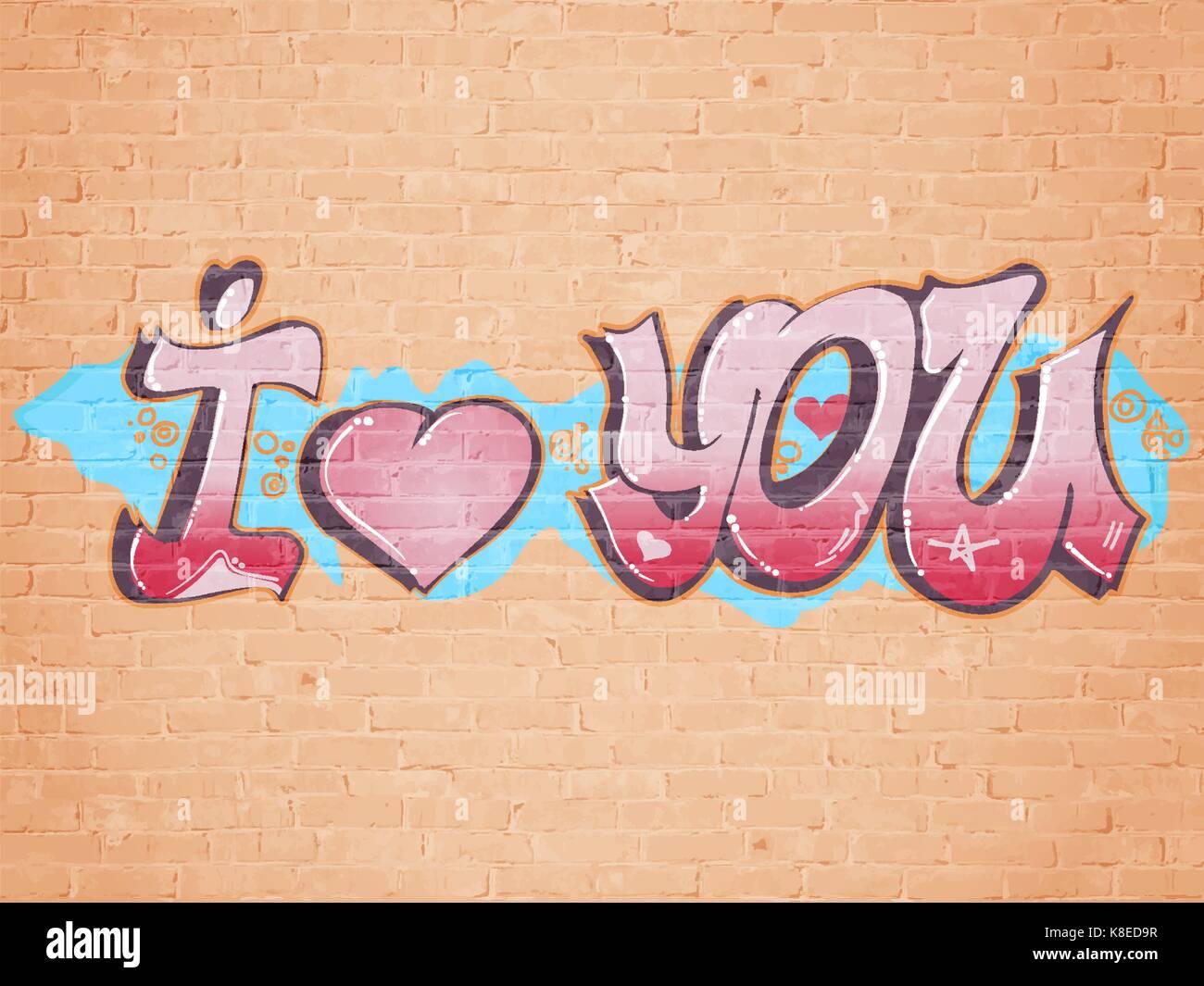 I love you graffiti style stock vector