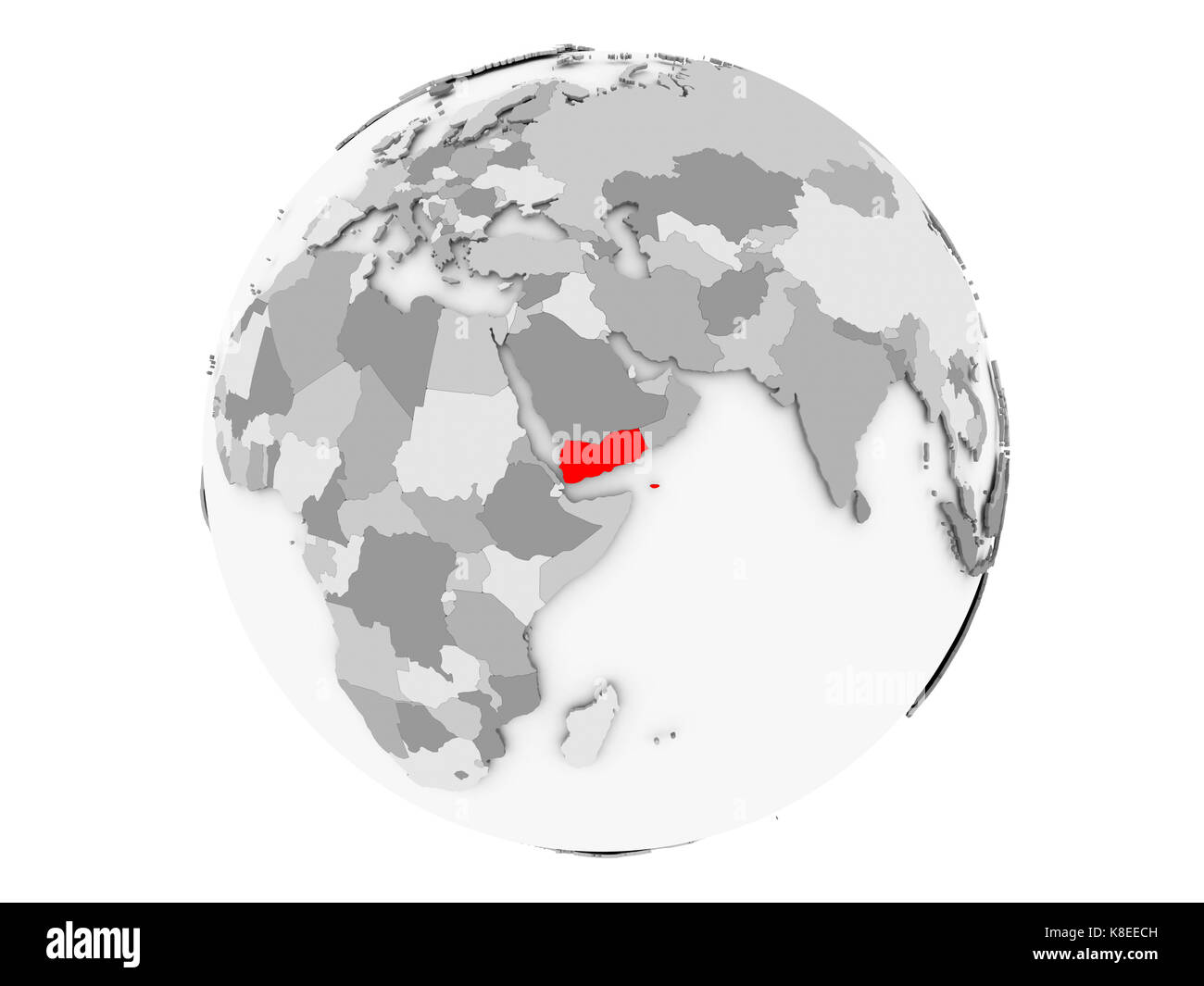 Yemen highlighted in red on grey political globe. 3D illustration isolated on white background. - Stock Image