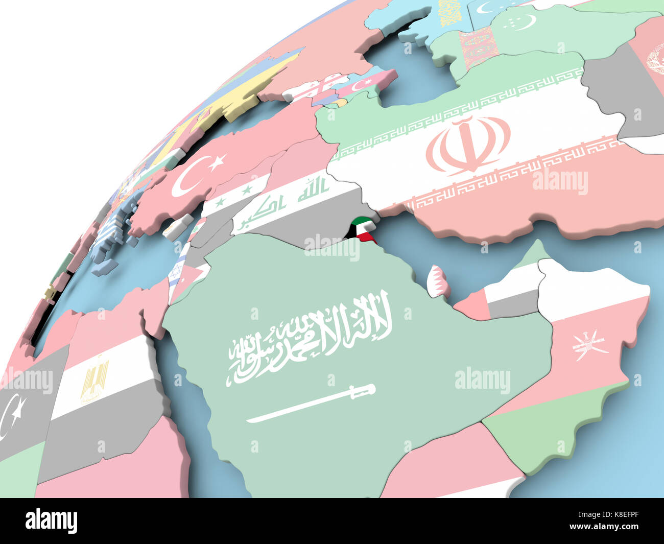 Map of Kuwait on political globe with embedded flag. 3D illustration Kuwait On A Map on euphrates river on a map, iraq on a map, yemen on a map, turkey on a map, dubai on a map, cyprus on a map, israel on a map, jordan on a map, karachi on a map, lesotho on a map, pakistan on a map, albania on a map, tigris river on a map, bahrain on a map, lebanon on a map, tunisia on a map, dead sea on a map, brunei on a map, djibouti on a map, qatar on a map,