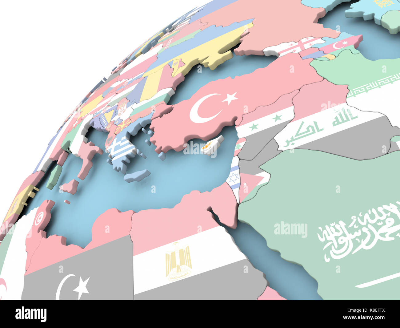 Map of Cyprus on political globe with embedded flag  3D illustration