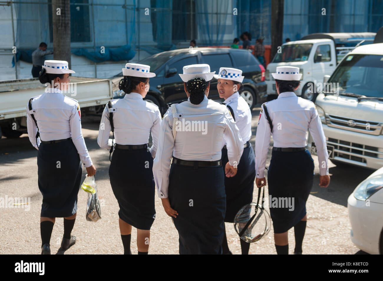 27.01.2017, Yangon, Yangon Region, Republic of the Union of Myanmar, Asia - A group of female traffic police officers - Stock Image