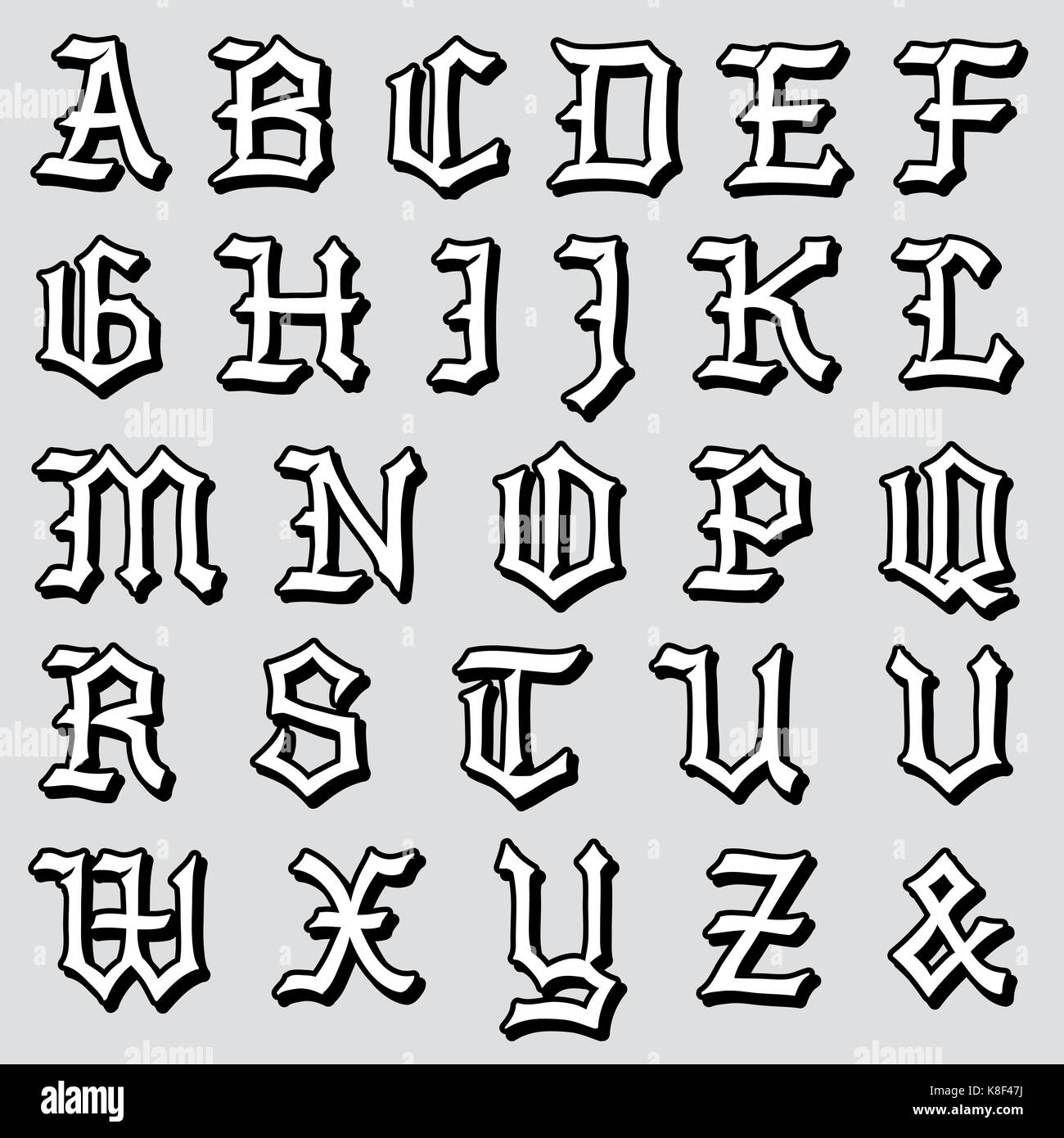 Doodle Vector Illustration Of A Complete Vintage Gothic Alphabet In Caps Written Black