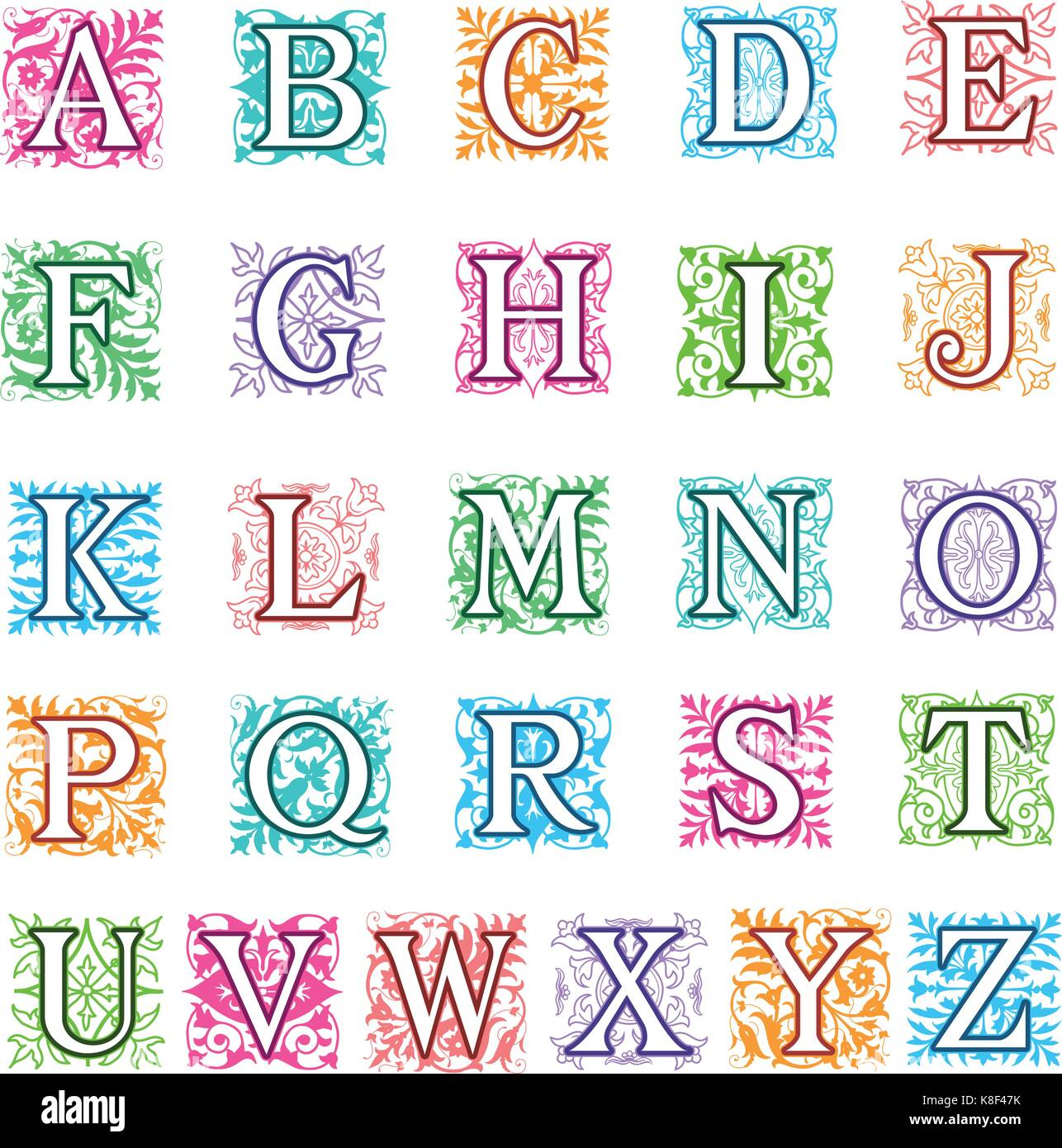 Colorful Vector Illustration Of A Complete Set Alphabet Letters In Uppercase With Square Format Ornamental Decoration Behind Each Capital Letter