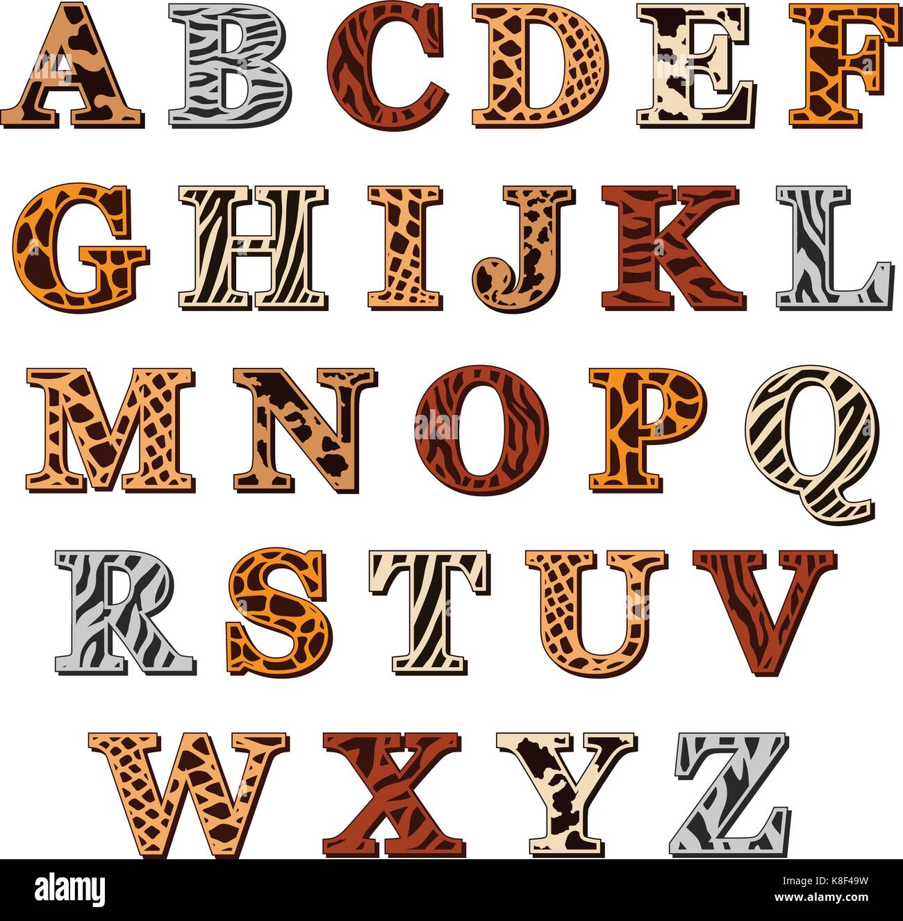 Vector Capital Letters Of The Latin Alphabet With Animal Print Stock
