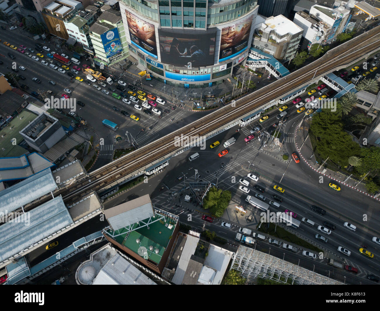 Aerial shot of an Intersection in Bangkok - Stock Image