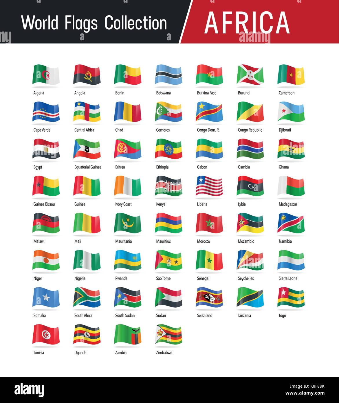 Flags of Africa, waving in the wind - Vector world flags collection - Stock Image