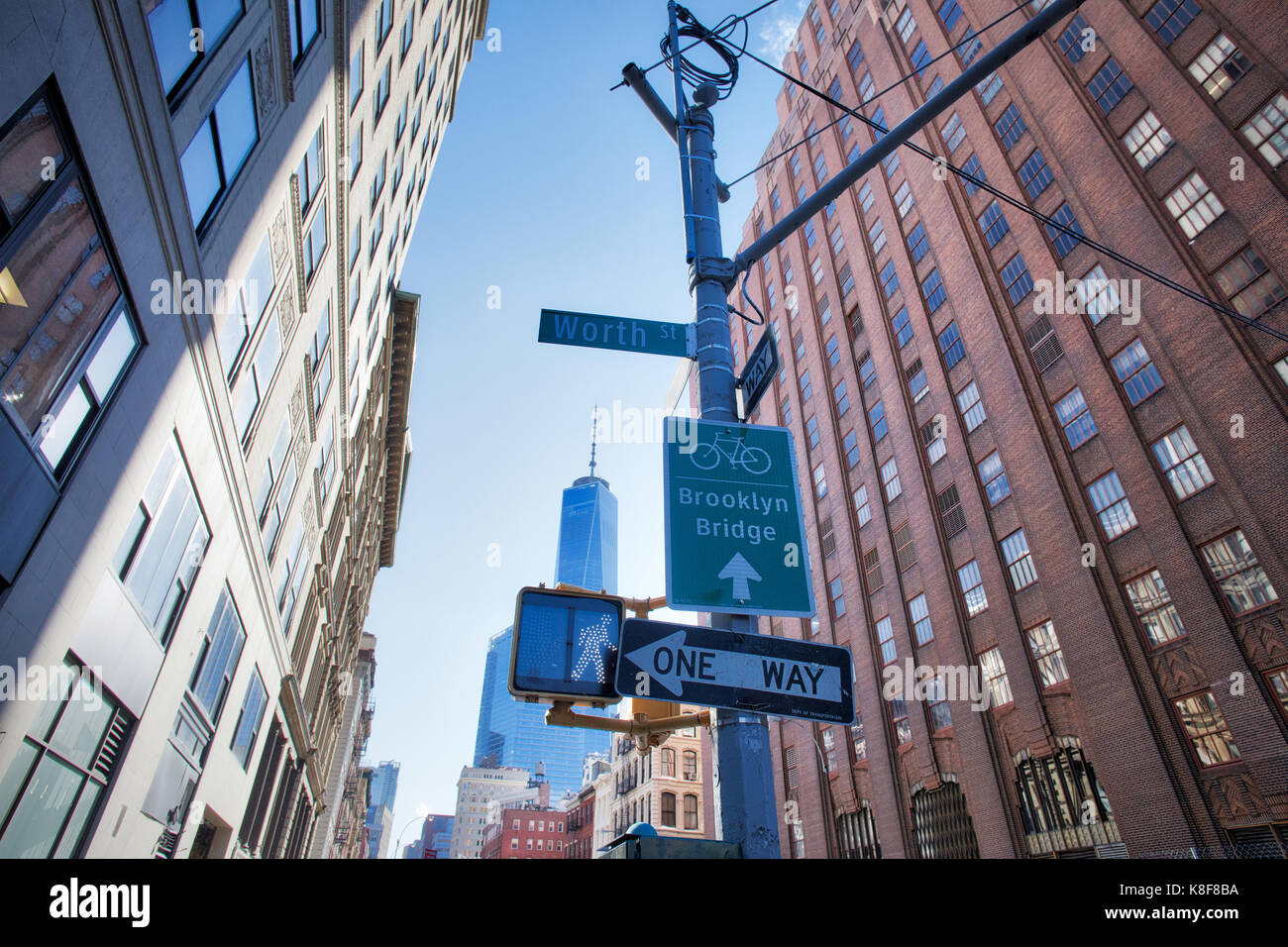 NEW YORK, USA - MARCH 2017 - Brooklyn Bridge cycle sign and Worth sign at tribeca. Stock Photo