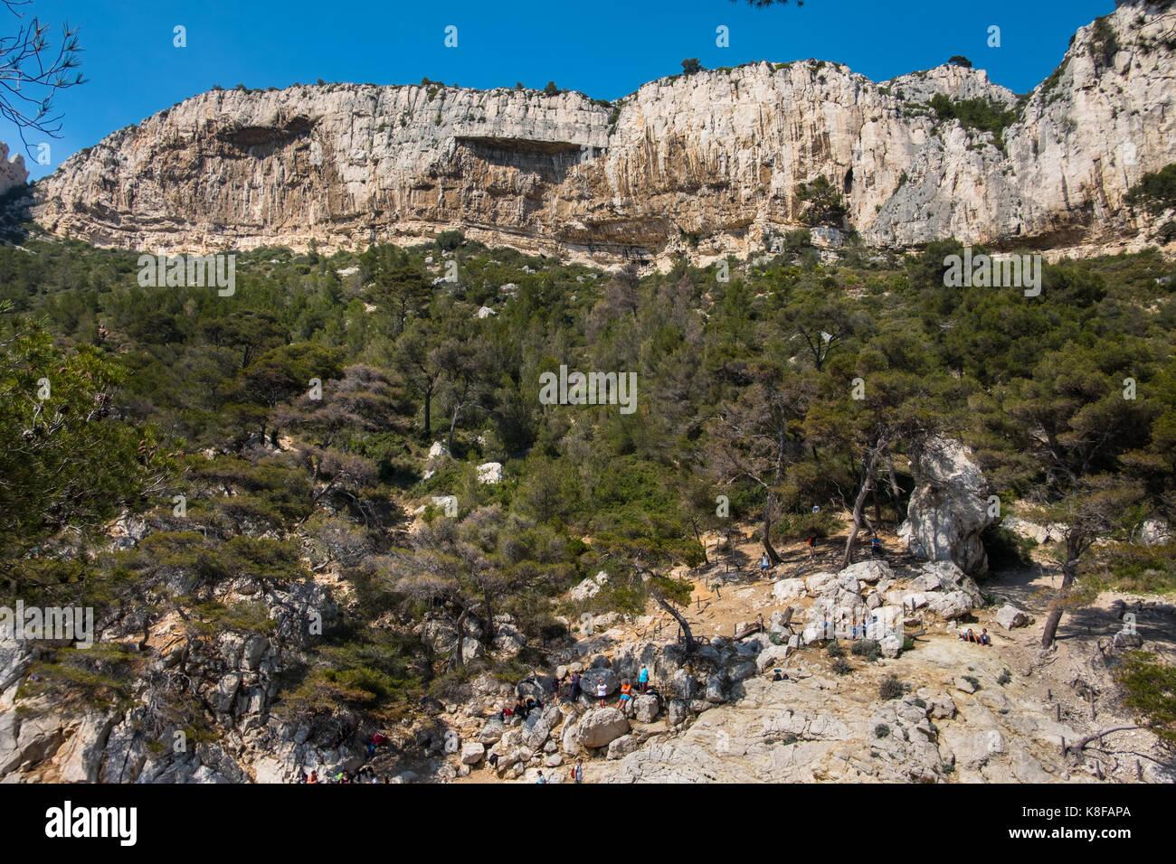 Paroi des Toits in Calanque de Sugiton,Calanques National Park, southern France Stock Photo