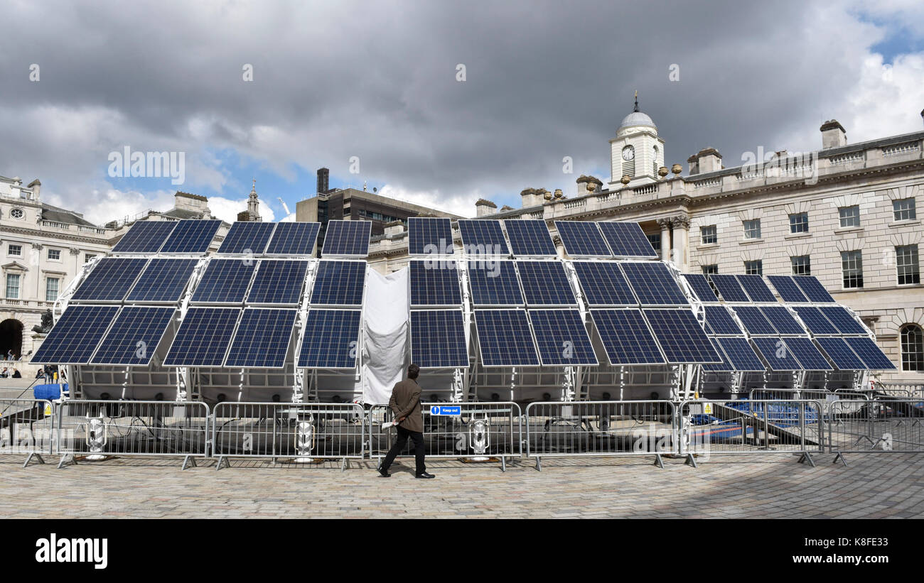 London, UK. 19th Sep, 2017. Solar panels power a machine known as ...