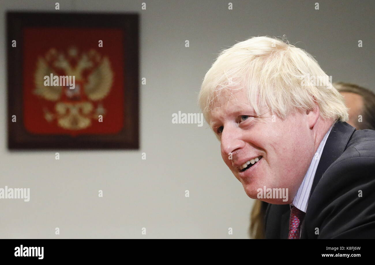 New York City, United States. 19th Sep, 2017. The UK's foreign secretary Boris Johnson during a meeting with Russia's Stock Photo