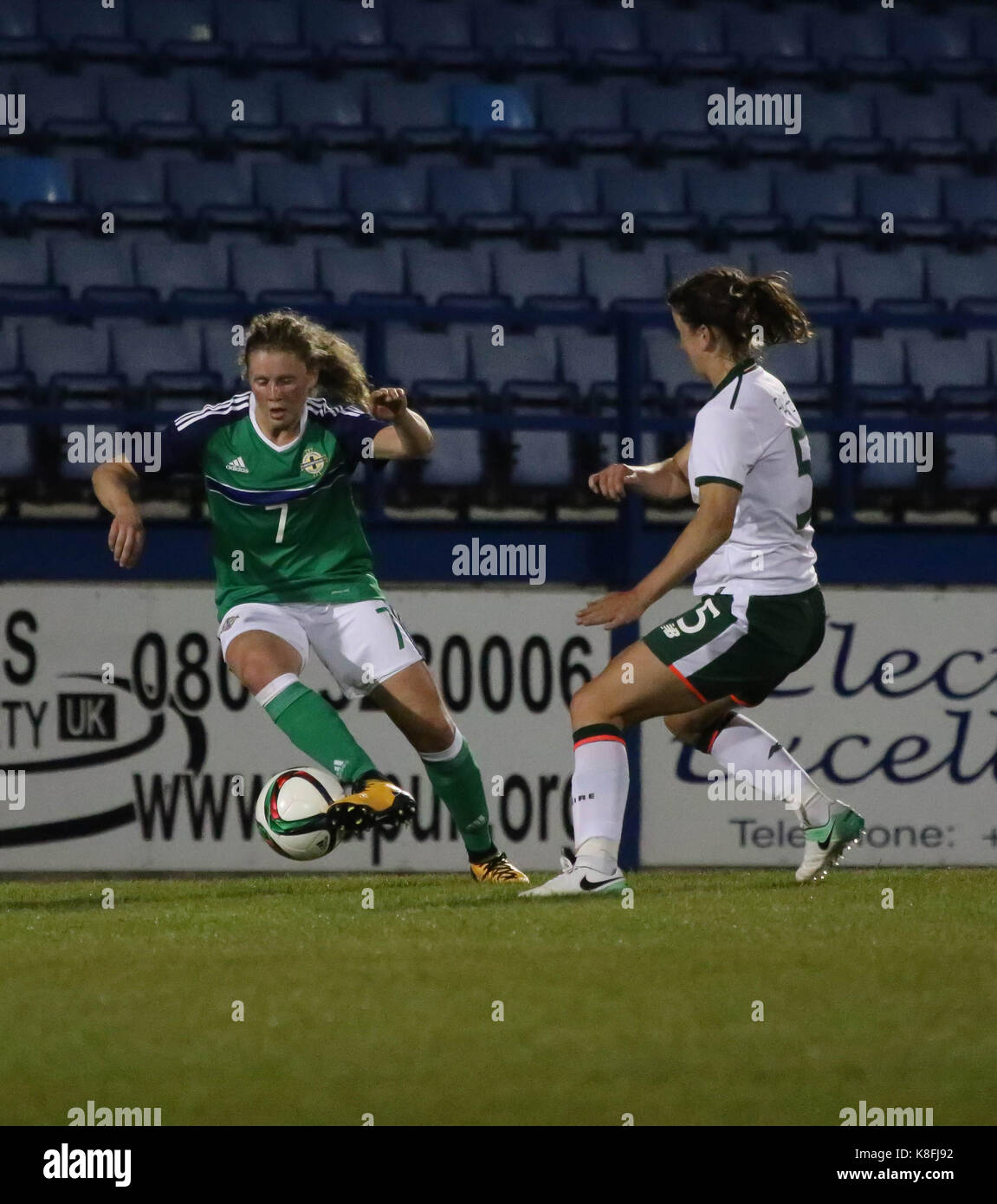 Lurgan, Northern, Ireland. 19th Sep, 2017. 2019 FIFA Women's World Cup Qualifier (Group 3). Northern Ireland v Republic Stock Photo