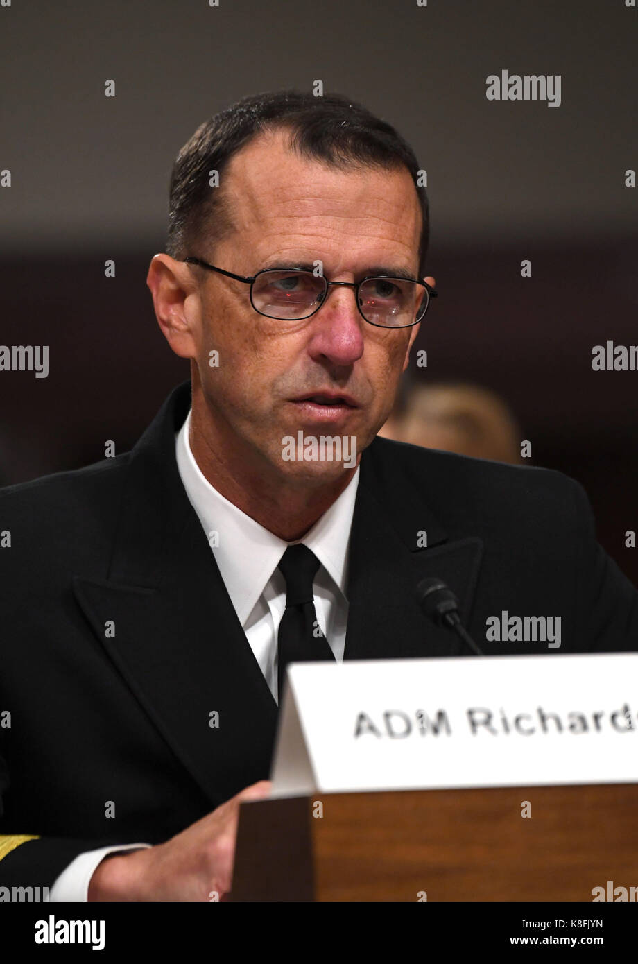 Washington, USA. 19th Sep, 2017. Chief of Naval Operations Admiral John Richardson testifies during a hearing on recent U.S. Navy incidents before Senate Armed Services Committee on Capitol in Washington, DC, the United States, on Sept. 19, 2017. Top leaders of the U.S. Navy were urged to do better on Tuesday as they appeared before the Senate hearing over a series of deadly ship collisions involving the Pacific fleet. Credit: Yin Bogu/Xinhua/Alamy Live News Stock Photo