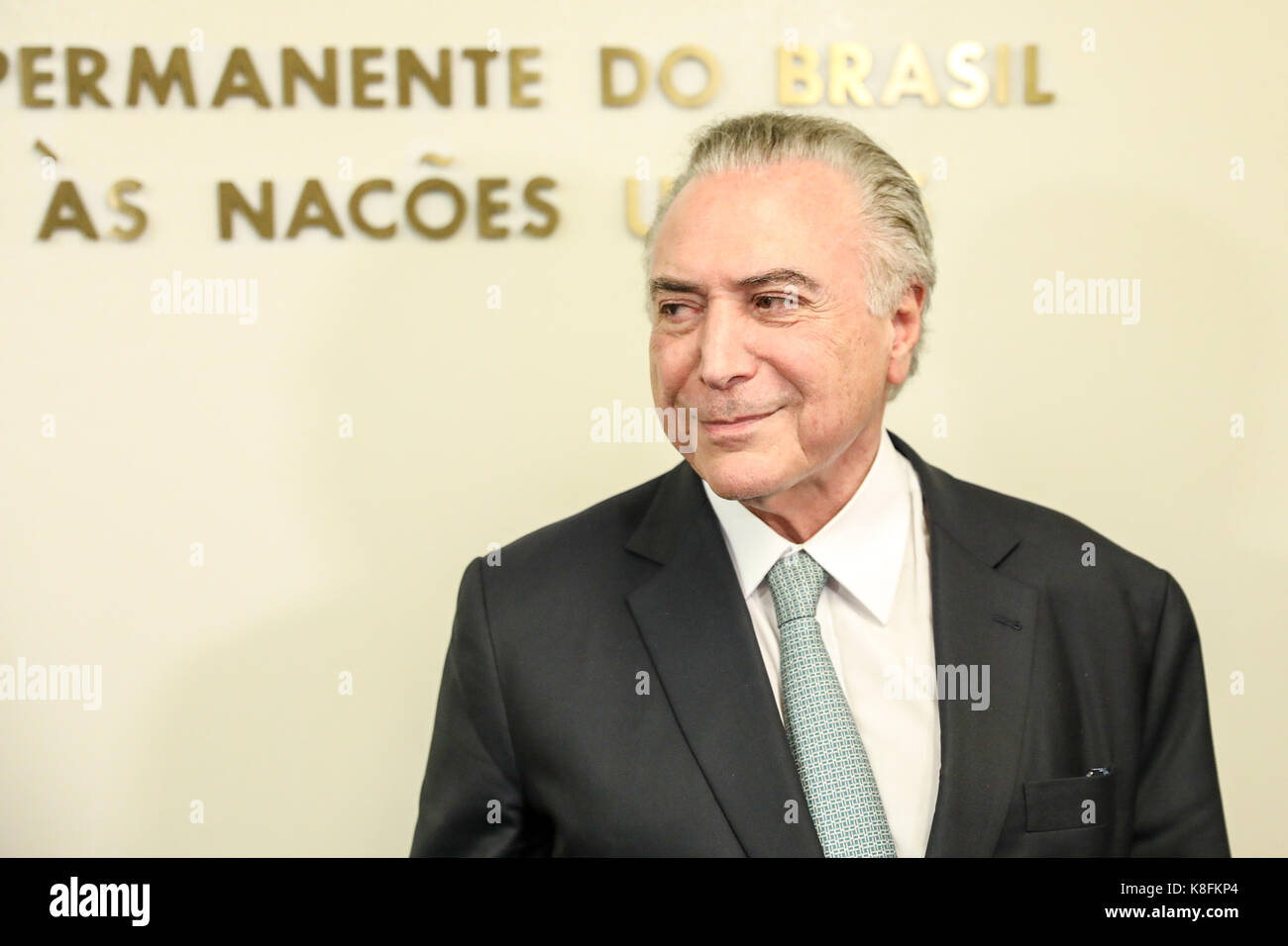New York, USA. 19th Sep, 2017. Michel Temer, president of the Republic of Brazil, attends a press conference at Stock Photo