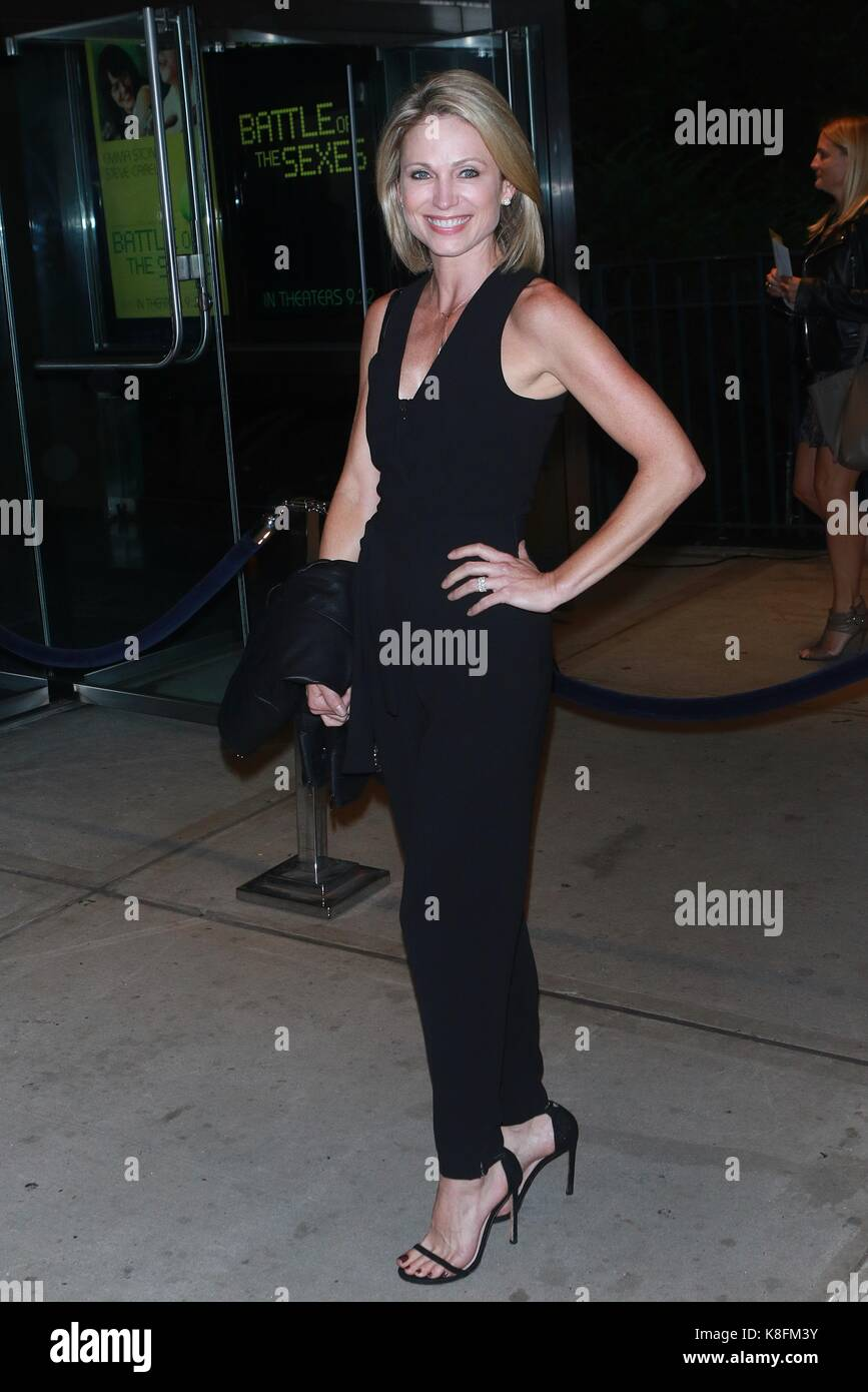 "New York, NY, USA. 19th Sep, 2017. Amy Robach at ""Battle of the Sexes"" New York Premiere at SVA Theater on September Stock Photo"