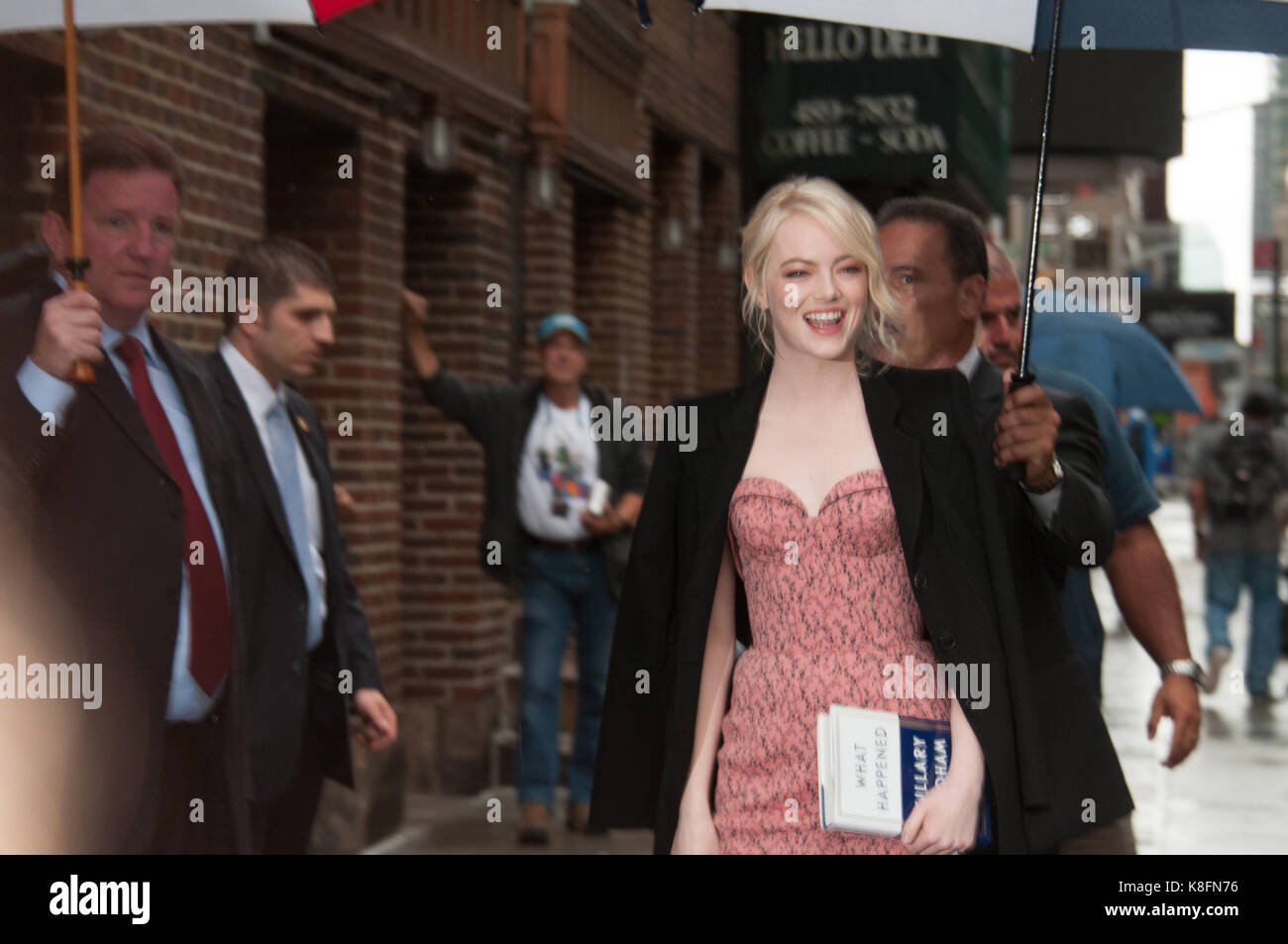 Emma Stone arriving at Colbert Show - Stock Image