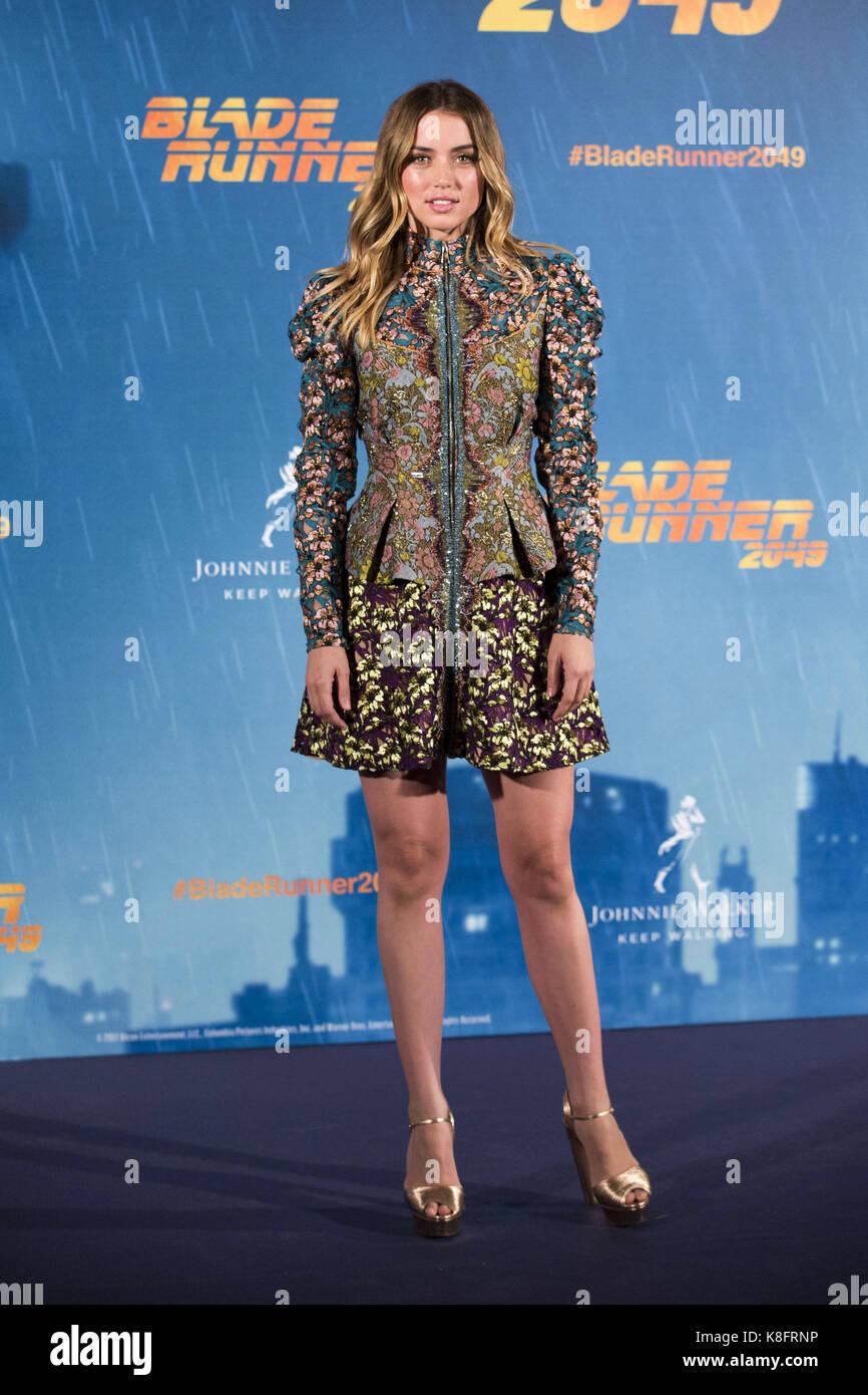 Madrid, Spanien. 19th Sep, 2017. Ana de Armas at the Photocall for 'Blade Runner 2049' at Hotel Villamagna. - Stock Image