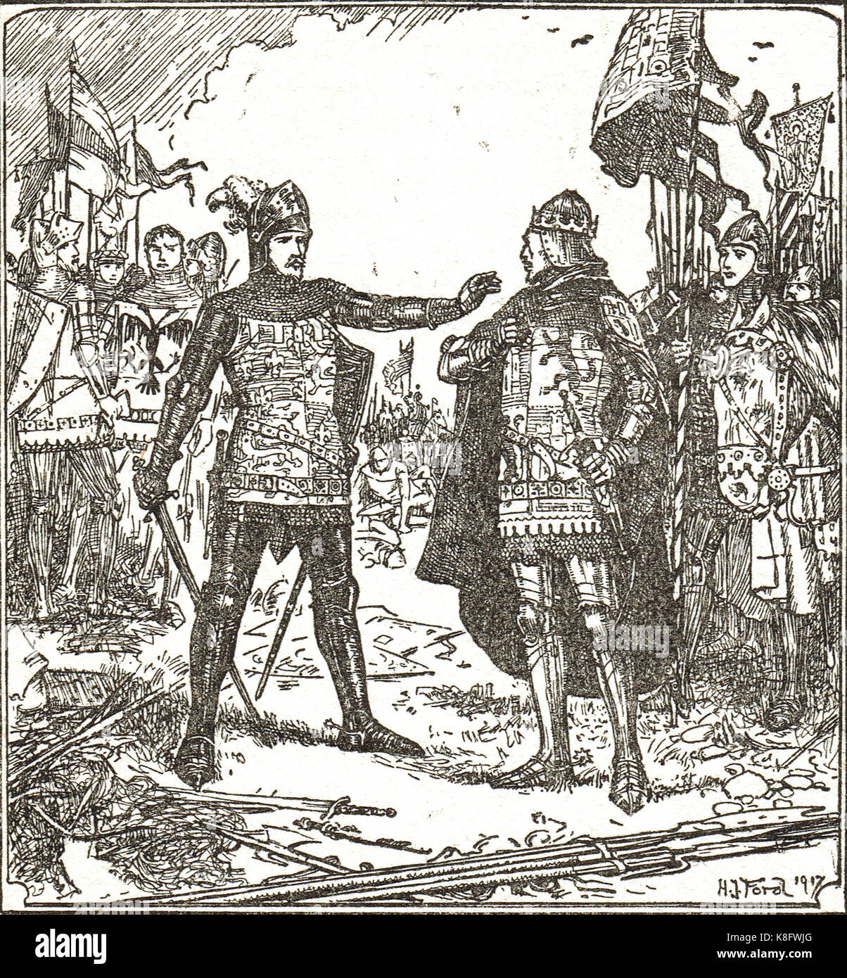 The Black Prince, Edward of Woodstock, refuses to hand over du Guesclin to Don Pedro, Battle of Nájera, 3 April - Stock Image