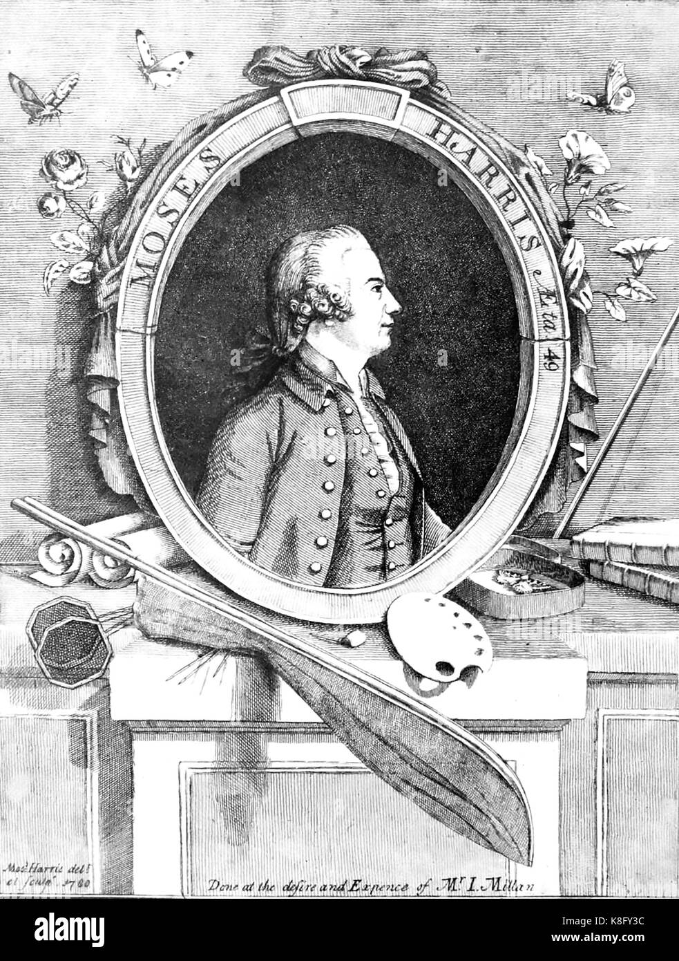 MOSES HARRIS (1730-c 1788) English engraver and entomologist. His own engraving from 1760 produced for an admirer. - Stock Image