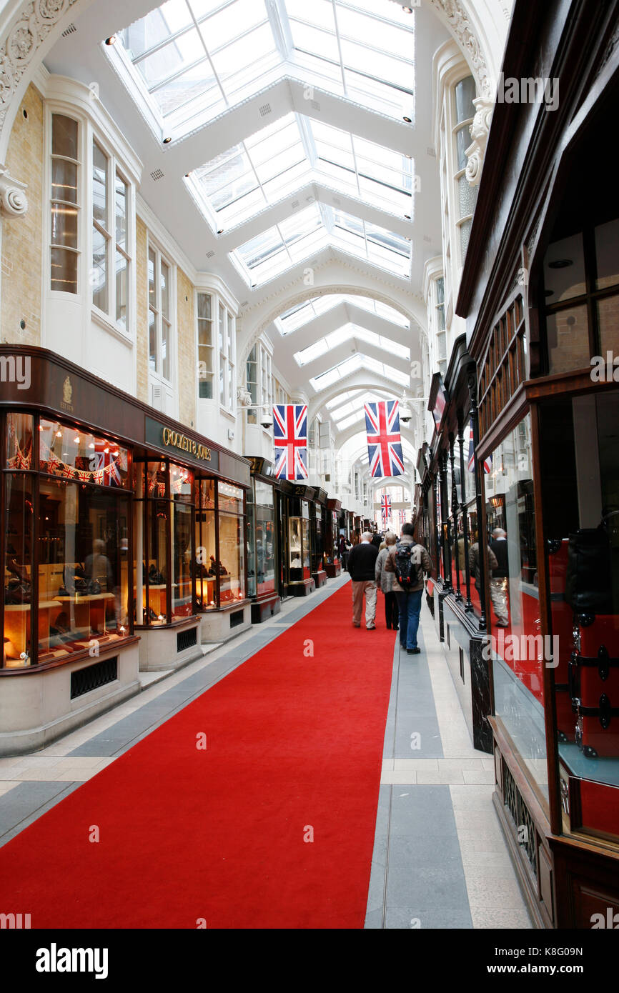 London, UK - June 4, 2012: Inside view of Burlington Arcade, 19th century European shopping gallery, behind Bond - Stock Image