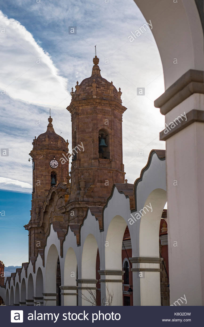 View of church bell tower and clock tower, Potosi, Bolivia - Stock Image