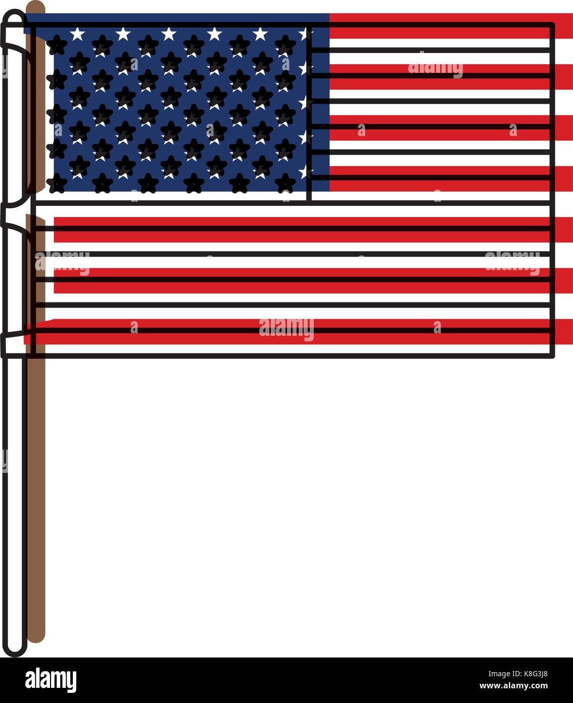 flag united states of america in flagpole and watercolor silhouette - Stock Vector