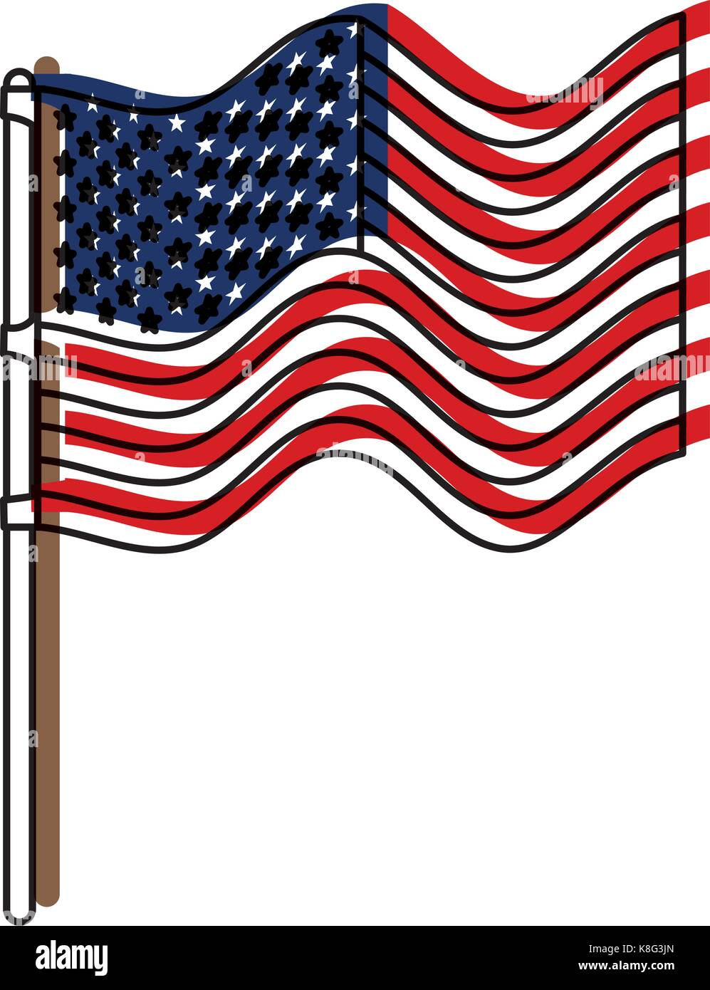 flag united states of america in flagpole waving and watercolor silhouette - Stock Image