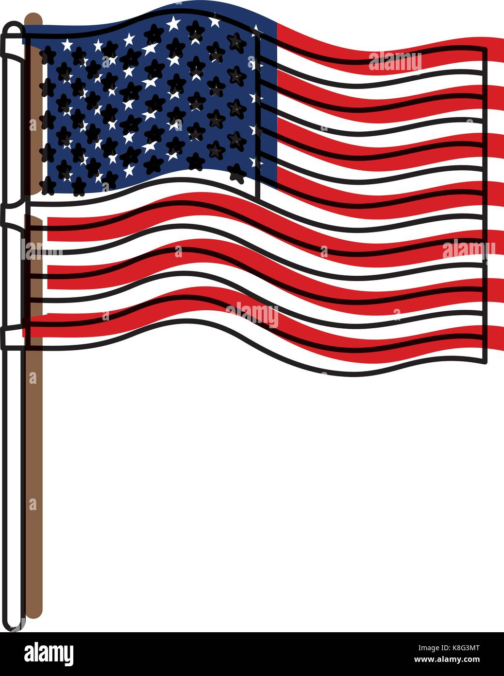 flag united states of america in flagpole wave and watercolor silhouette - Stock Image