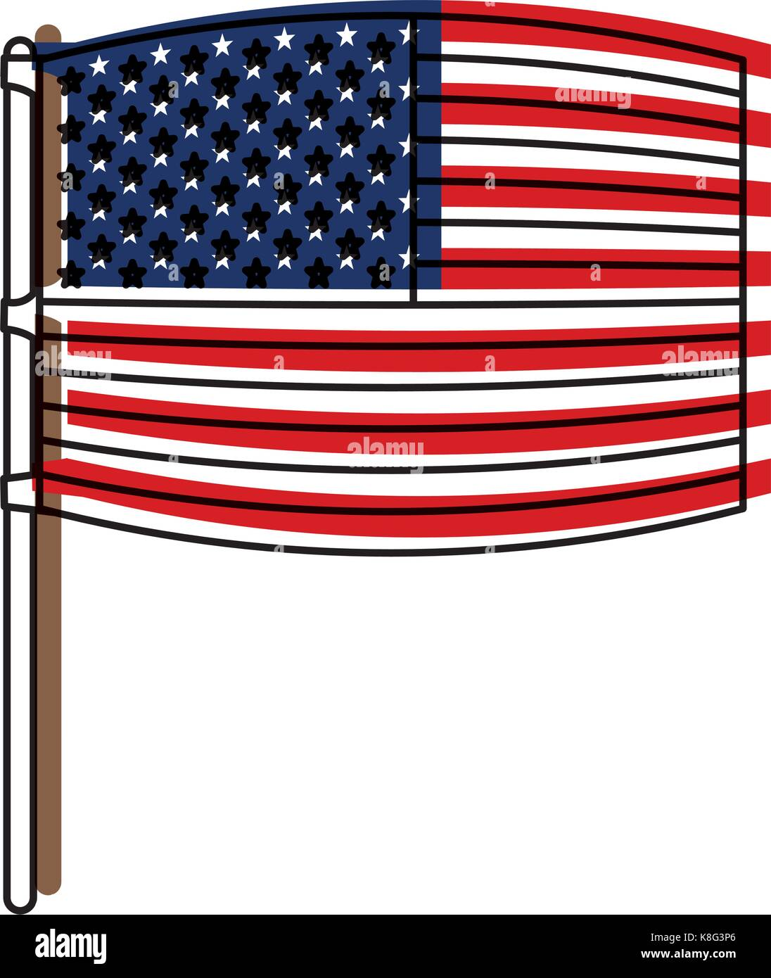 flag united states of america wave out design in flagpole and watercolor silhouette - Stock Image