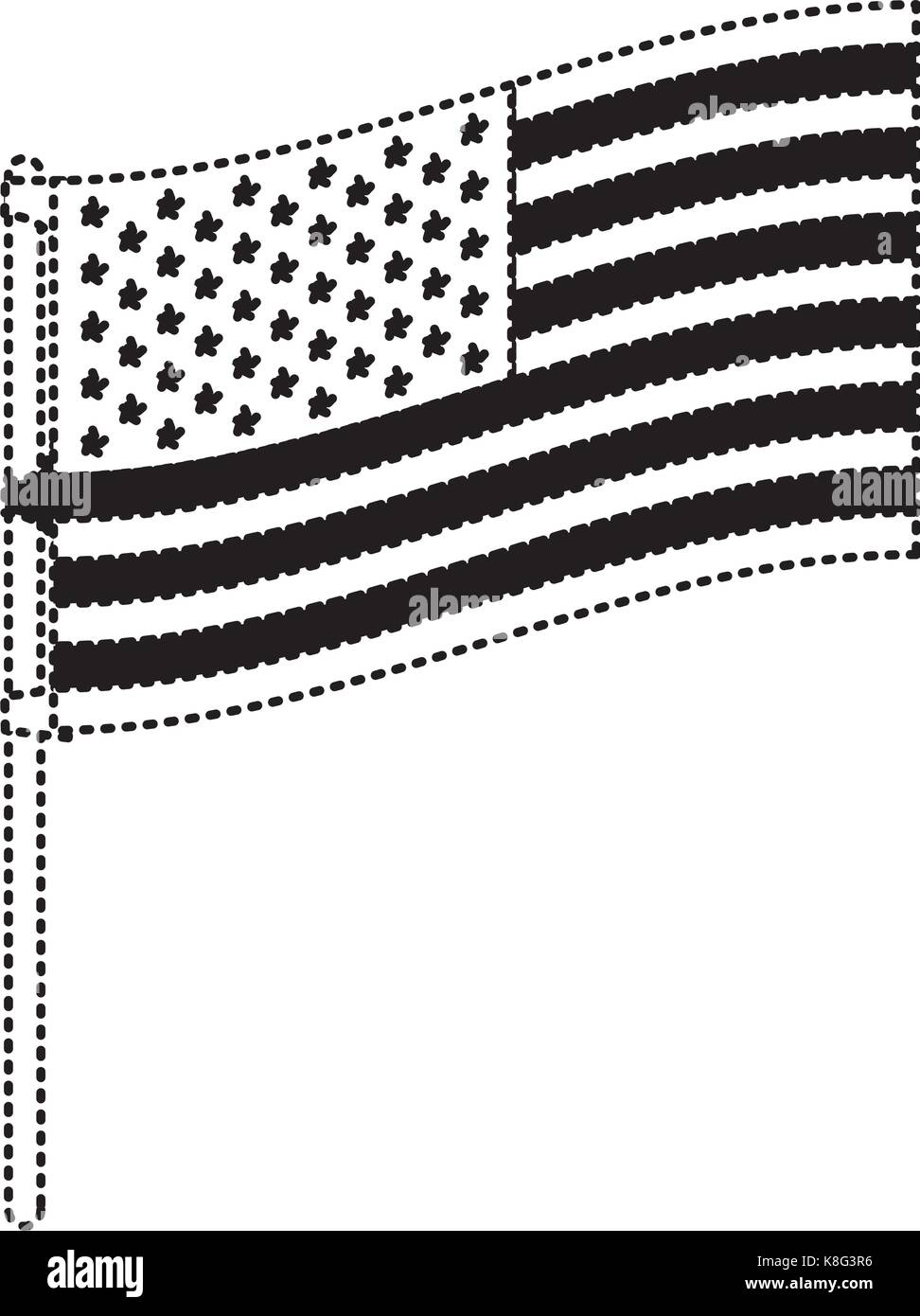 flag united states of america in flagpole to side in black silhouette dotted - Stock Image
