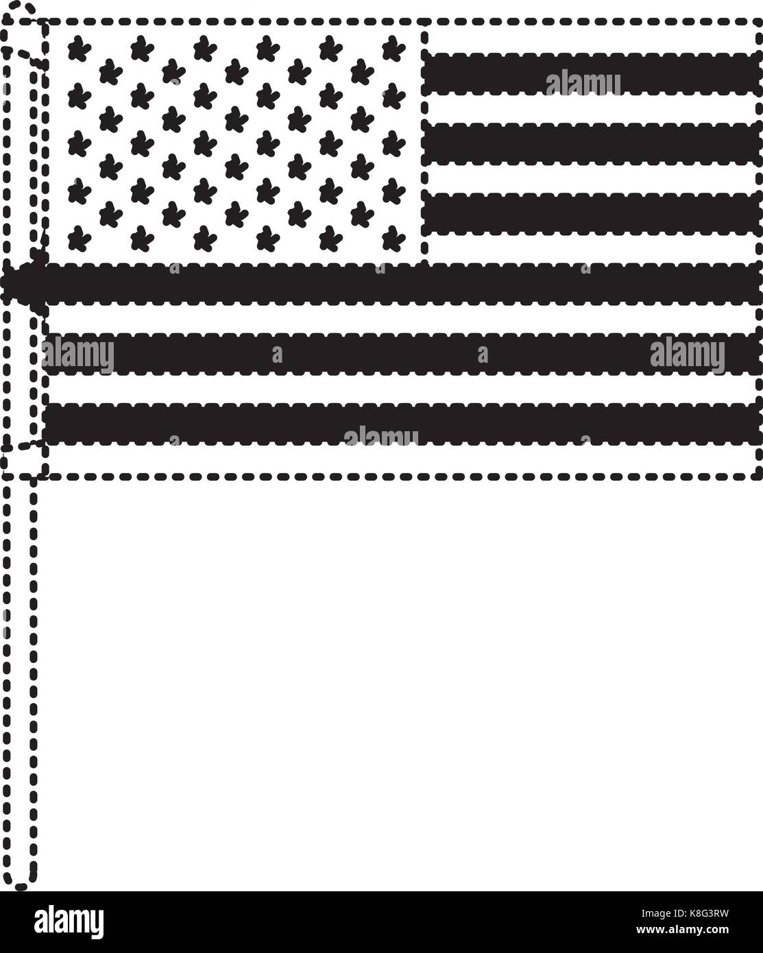 flag united states of america in flagpole and black silhouette dotted - Stock Image